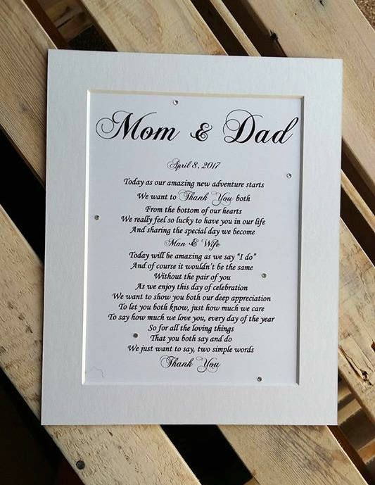 Parents Of The Bride Gift DIGITAL Print Wedding Gifts For Mom Dad