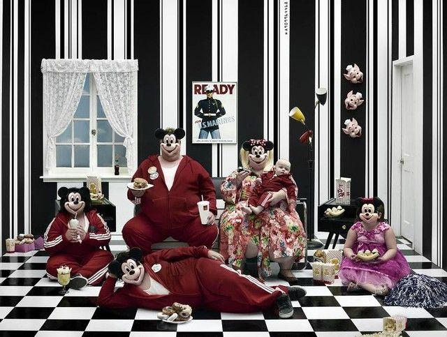 Gérard Rancinan: Family watching the TV. 240cm x 180.