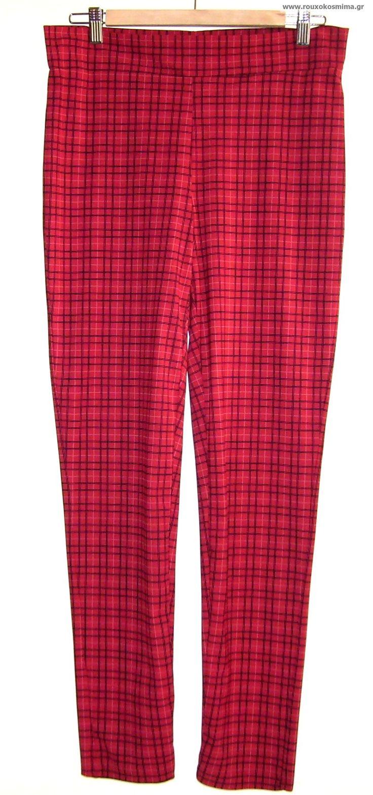Παντελόνι ελαστικό – κολάν καρό κόκκινο