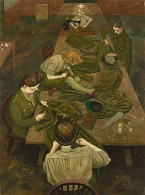 'British women in WWII: An Army Tailor and an ATS Tailoress' (1943) by English artist Evelyn Dunbar (1906-1960) She was partly notable for having been one of the few female artists to have been employed by the War Artists' Advisory Committee to record women's contributions to World War II on the United Kingdom home front. She was also a forerunner of the Green movement.
