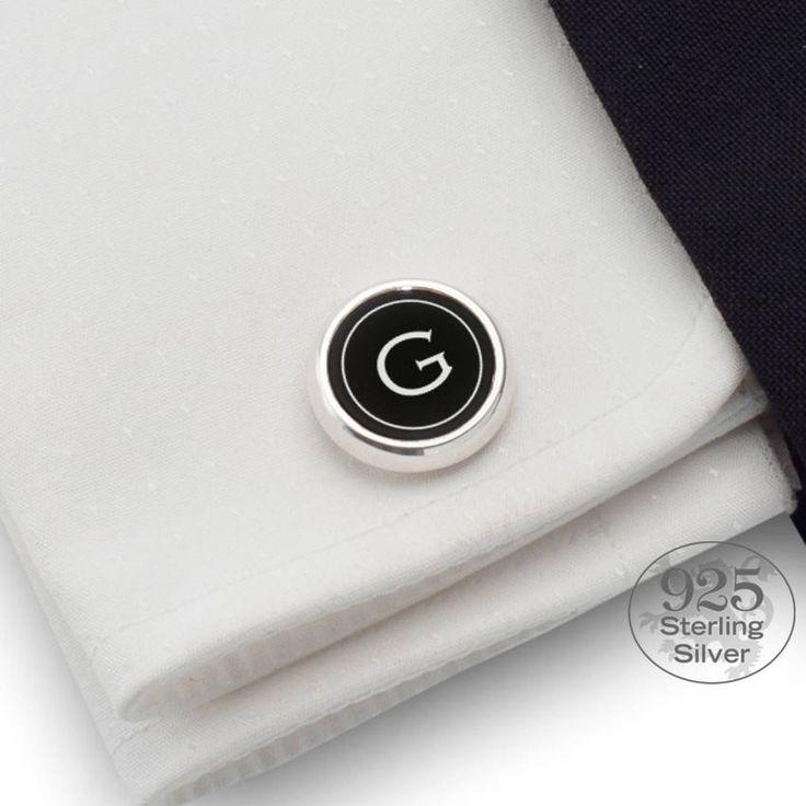 Round cufflinks,One letter initial,Silver cufflinks,Black cufflinks,Mens cufflinks,Wedding cufflinks,Custom Cufflinks,Personalized Cufflinks by ZaNaDesignEtsy on Etsy
