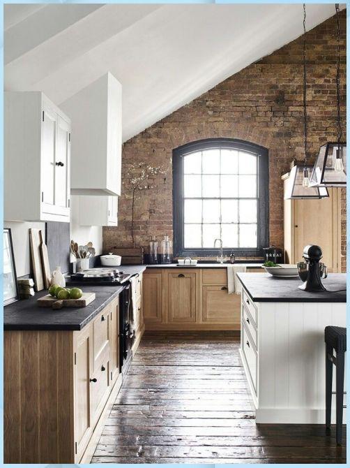 Holz, Weiß & Ziegel Küche. Was wäre besser ki Deko Kuche ...