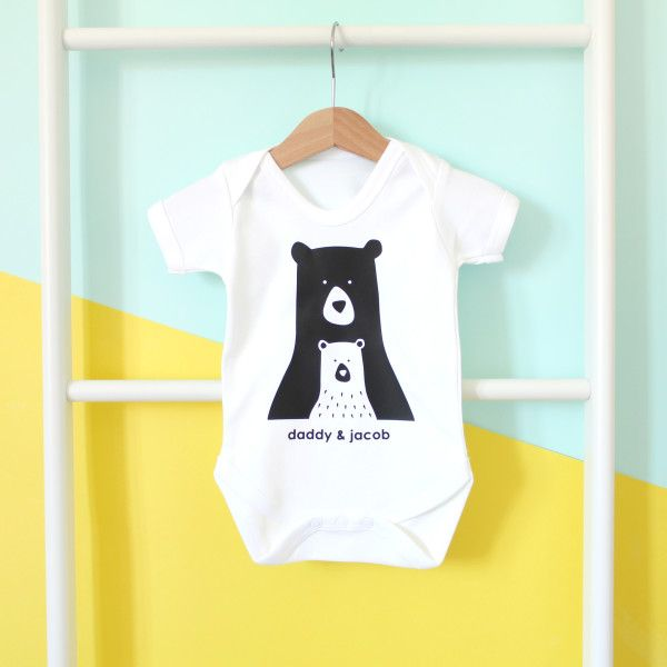 Daddymummy And Me Personalised Bear Onesie Or T Shirt Grow Suits