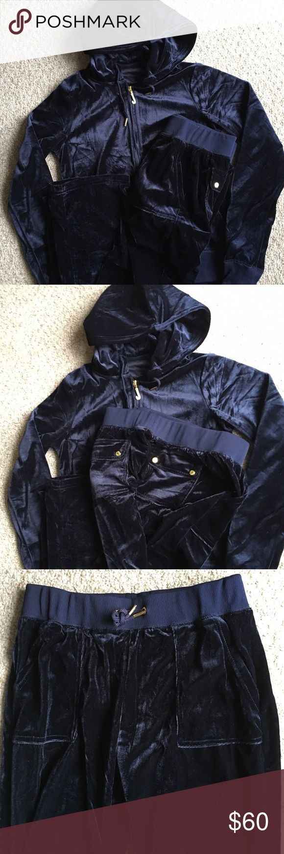 New Juicy Couture Velour Hoodie Tracksuit L Brand new with tags. Velour Zippered Hoodie with Matching bottom. Midnight blue with snap closure back pockets. Size: L Juicy Couture Tops Sweatshirts & Hoodies