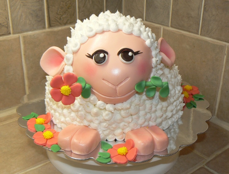 Easter Lamb - When I saw the cake posted on here by Daantjes Taarten, I just had to try my hand at making it.  This is a french vanilla cake filled with vanilla buttercream and strawberry filling and iced with buttercream with fondant accents. This custom cake was created by SugarBling! - a cake boutique located in Kansas City, Missouri.