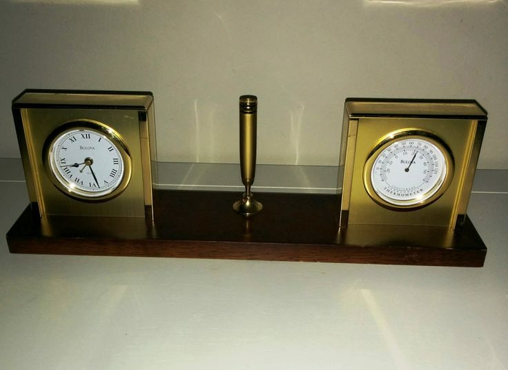 Bulova Desk Set Alarm Clock Thermometer C and F Pen Set Wood Brass Mid Century Modern by Mayuls on Etsy