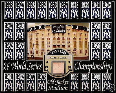 26 WORLD SERIES 8X10 PHOTO YANKEE STADIUM BLUE WOODEN SEAT