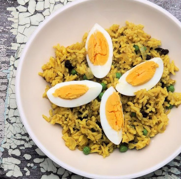 Thought to have originated with an aromatic, spicy South Asian rice and bean dish. http://www.cautiousvegetarian.ca/recipe/kedgeree/