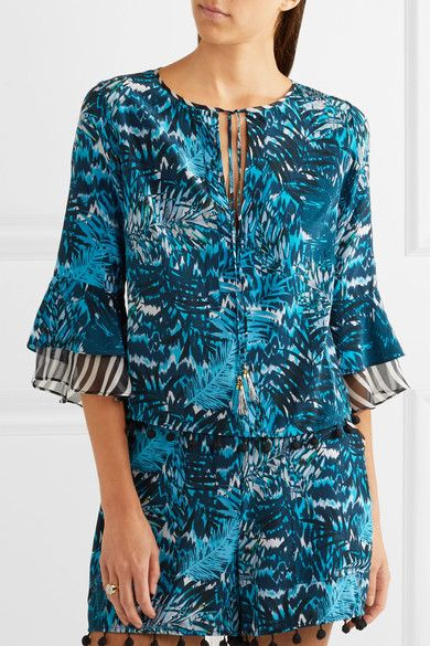 Matthew Williamson - Pompom-embellished Printed Silk Crepe De Chine Top - Petrol - UK12