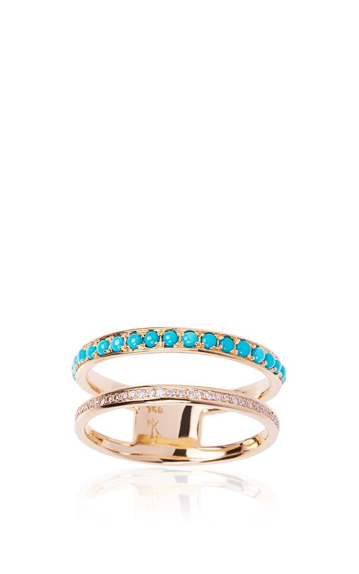 Yellow Gold, Diamond And Turquoise Ring by Niko Koulis - Moda Operandi