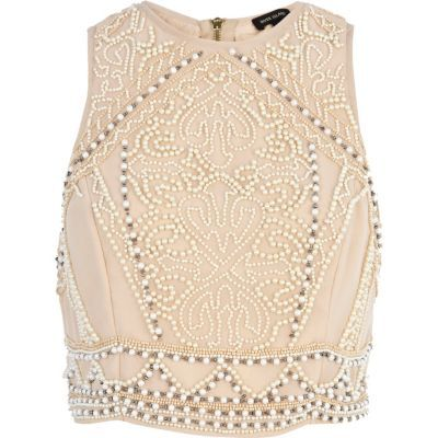 Cream embellished sleeveless crop top