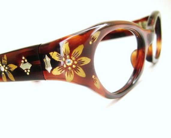 Vintage 1950s Cat Eye Glasses Frames Tortoise Wrap