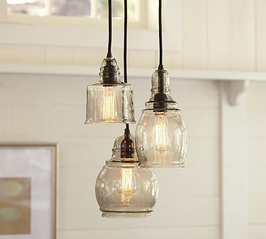 Paxton Glass 3-Light Pendant: http://www.potterybarn.com/products/clift-seeded-glass-3-light-cluster-pendant/?pkey=cchandeliers-pendants