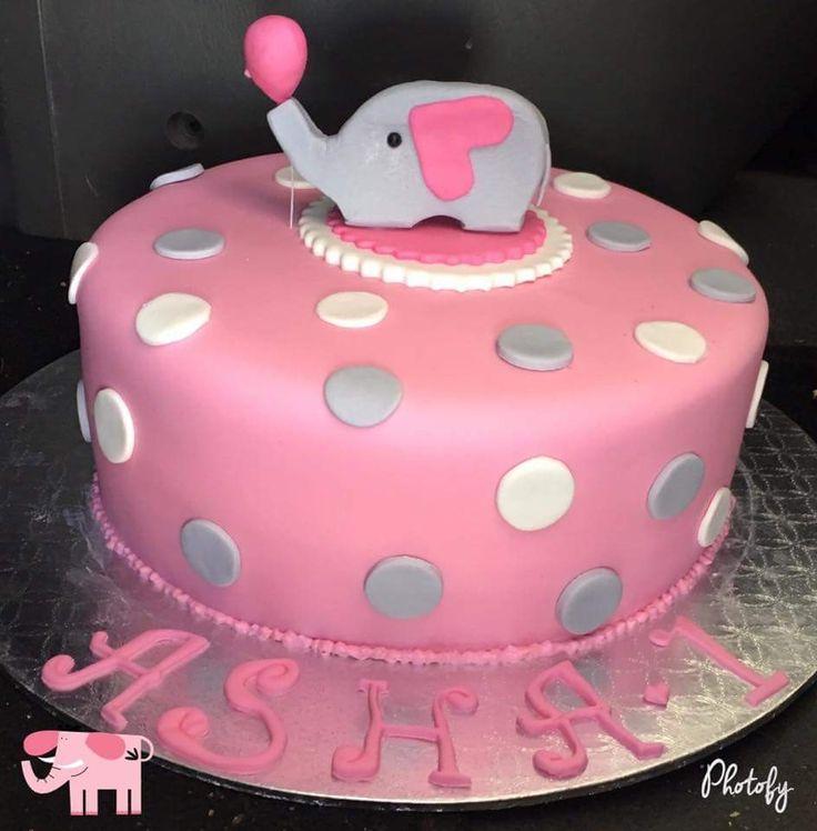 Elephant 1st birthday cake #pink #one