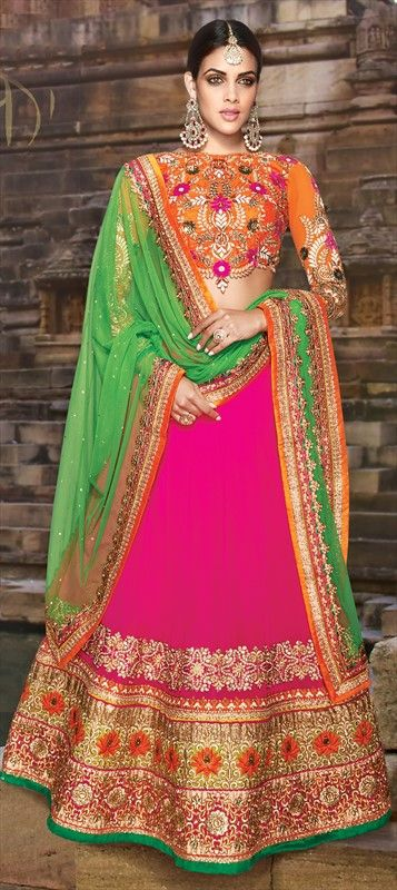 185213 Pink and Majenta  color family Bridal Lehenga, Mehendi & Sangeet Lehenga in Georgette fabric with Border, Bugle Beads, Machine Embroidery, Stone, Thread, Zari work .