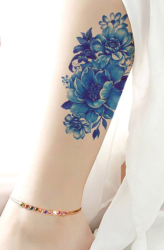 Blue Flower Tattoo Designs: Feminine Blue Flower Calf Tattoo Ideas For Women