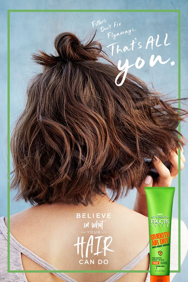 Filters don't fix flyaways, that's all you…but Garnier Fructis Style is here to help! Get natural looking undone texture without the frizz using Smooth Air Dry from Fructis Style. Apply to damp hair and then let strands dry naturally. Your quick and easy morning routine just got faster (and less frizzy). You're welcome.
