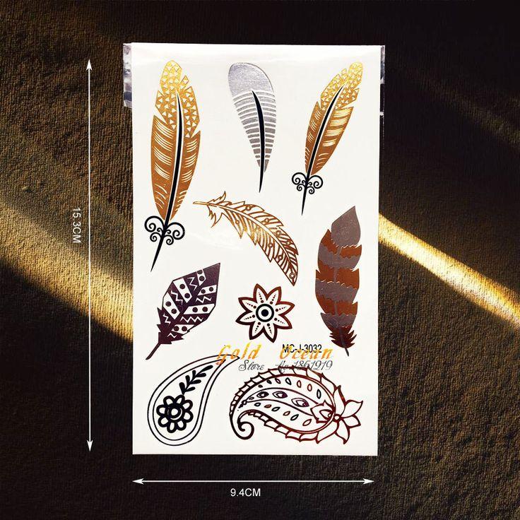 Золотое Перо Дизайн Поддельные Флэш Металлик Временные Татуировки Женщины Боди-Арт Рука Татуировки Наклейки GMC-J3032 Серебро Татуировки Наклейки