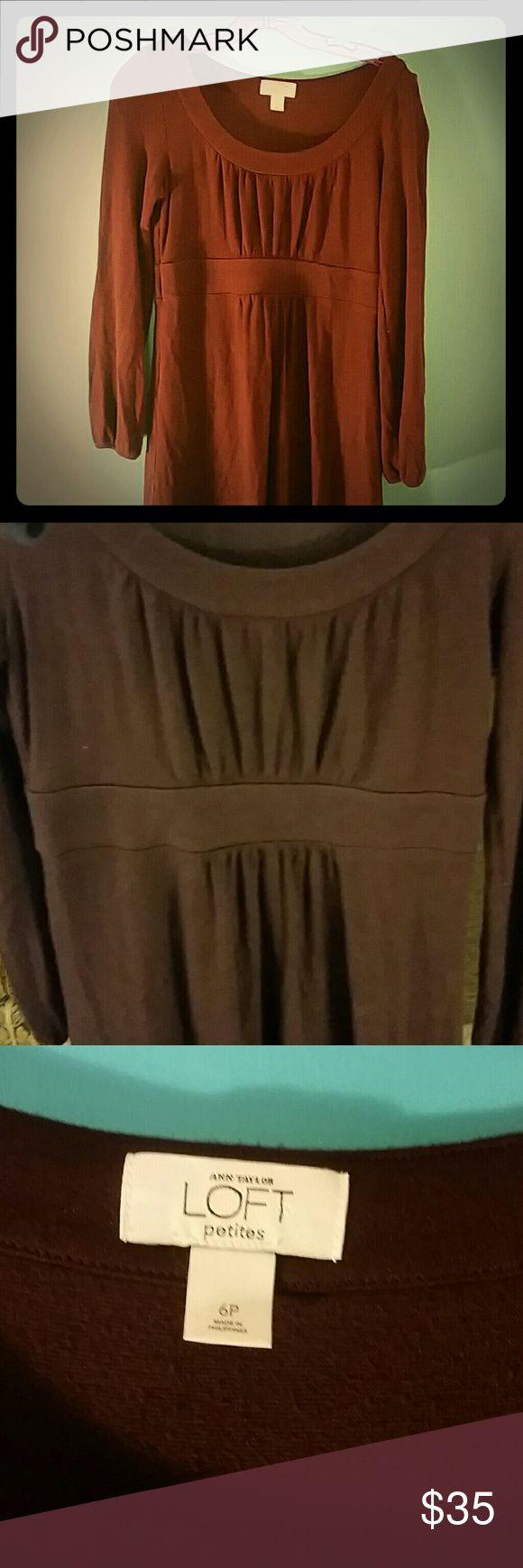 Anne Taylor LOFT plum colored long sleeve dress Anne Taylor LOFT dress. Empire waist, long sleeves, beautiful plum color, size 6P, very good condition. LOFT Dresses Long Sleeve