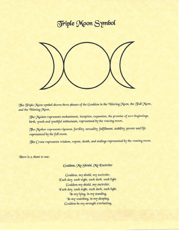 Book of Shadows Spell Pages ** Triple Moon Symbol ** Wicca Witchcraft BOS FOR SALE • $1.85 • See Photos! Money Back Guarantee. Do you know about the Triple Moon Symbol? How familair are you with this famous Wiccan symbol? This Book of Shadows page explains the meaning of the symbol and give 231752567957