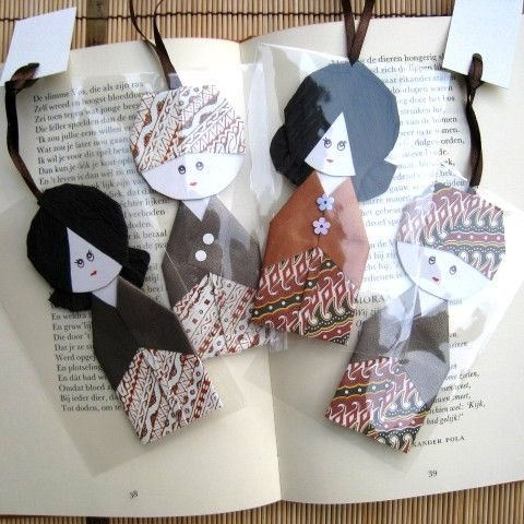 Set of 4.. Handmade dolls from batik paper.. Javenese by bila