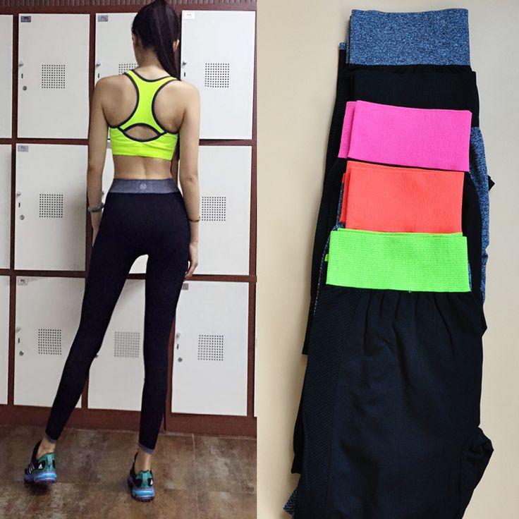Эластичные спортивные брюки фитнес брюки женская осенне-зимний был тонкий Ю. влагу Йога на открытом воздухе учебных бег брюки девять очков - Taobao