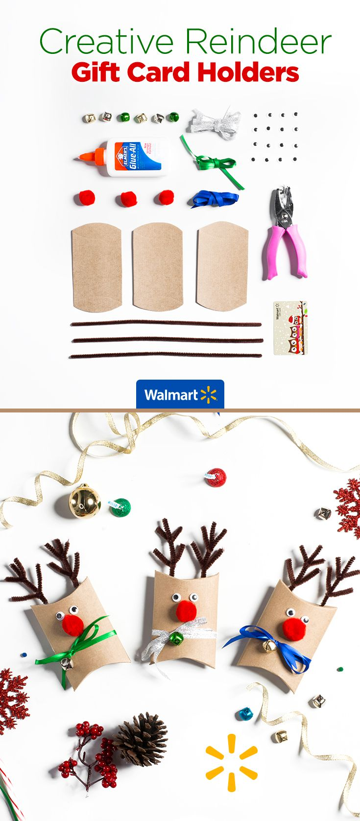 Creative Reindeer Gift Card Holders | Walmart - Craft these festive card holders out of pipe cleaners, pom poms and jingle bells. Directions for these and similar ideas are at Walmart.