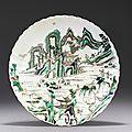 Plat en porcelaine famille verte, chine, dynastie qing, xviiième siècle