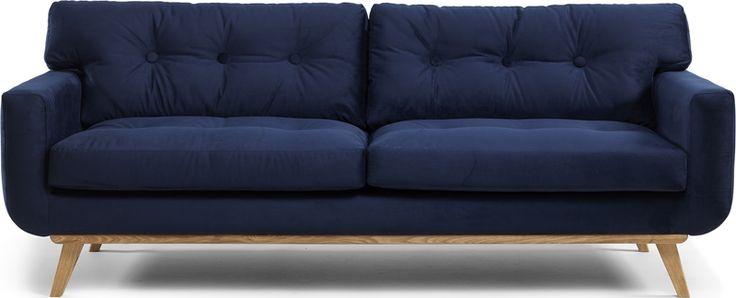 ALICE 3-sits soffa tyg Versailles 2705 dark blue m eksarg