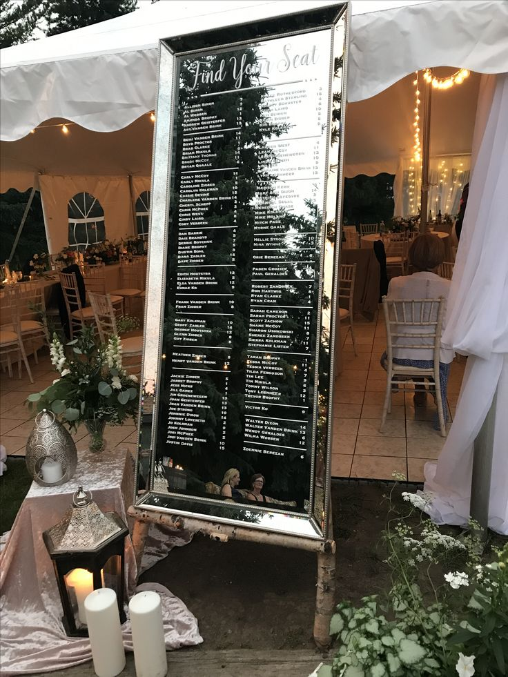 Mirror seating chart || tent wedding || outdoor wedding || Find your seat