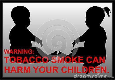 Vector anti-smoking warnings of a boy and a girl silhouette.