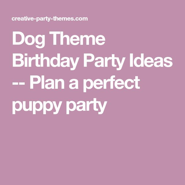 Dog Theme Birthday Party Ideas -- Plan a perfect puppy party