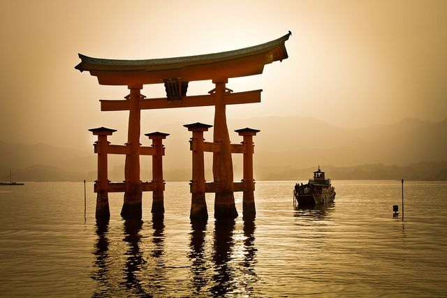 The Boat Approaches under Torii gate