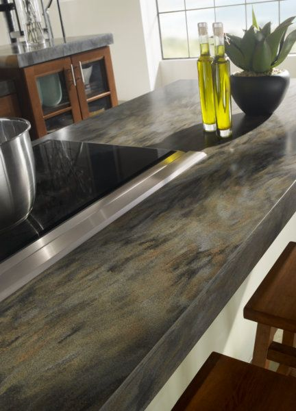 Beautiful corian island using the backside fabrication of sorrel corian kitchens pinterest - Corian material ...