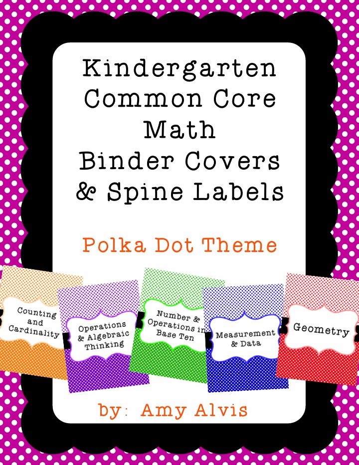 Common Core Math Binder Covers and Spine Labels - Kindergarten, $