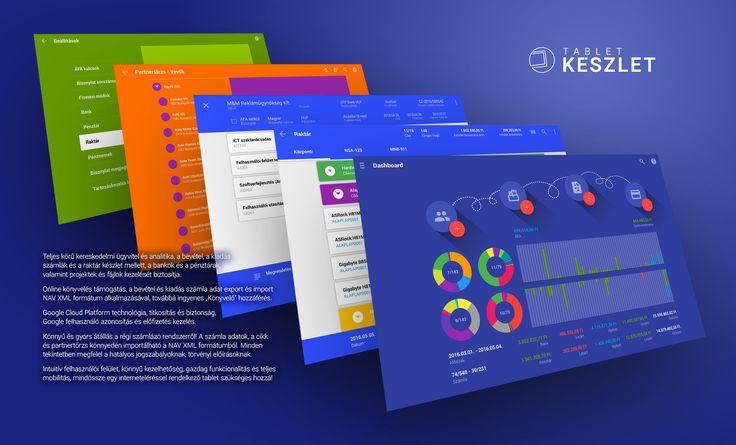 Android tabletre optimalizált teljes körű online kereskedelmi ügyvitel és analitika, a bevétel, a kiadás számlák és a raktár készlet mellett, a bankok és a pénztárak, valamint projektek és fájlok kezelését biztosítja. Online könyvelés támogatás, számla adat export és import NAV XML formátum alkalmazásával, ingyenes könyvelő hozzáférés. Intuitív felhasználói felület, könnyű kezelhetőség, gazdag funkcionalitás és teljes mobilitás, mindössze egy interneteléréssel rendelkező tablet szükséges…