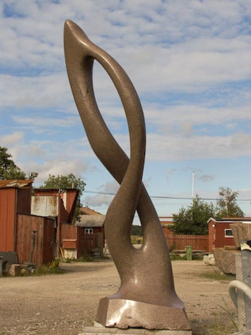 Polished granite abstract garden sculpture by artist - Large yard art sculptures ...