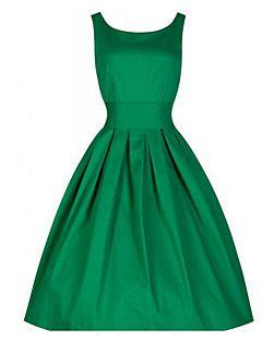 Mulheres Evasê Vestido,Casual Vintage Sólido Decote Redondo Médio Sem Manga Azul / Vermelho / Preto / Verde Algodão Verão