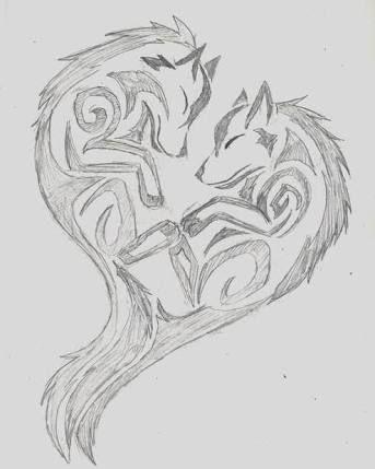 「tribal heart wolf drawings」の画像検索結果