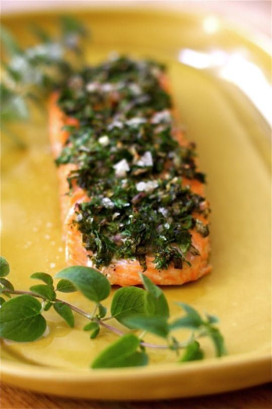 Salmon is one of the most versatile proteins to work with in the kitchen. It's delicious and universally loved, quite good for you, and very easy to prepare. Salmon still retains its fancy and festive reputation, even though it is more readily available these days and can be purchased at a decent price point from most grocery stores. My favorite way to cook salmon is in the oven, very low and slow, with a pan of water for moist heat. Read on for this utterly simple, foolproof way to produce…