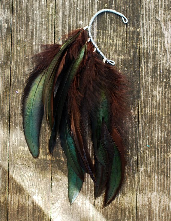 Ear Cuff Ear Cuff orecchini piuma Hippie bohemien capelli di Njuu