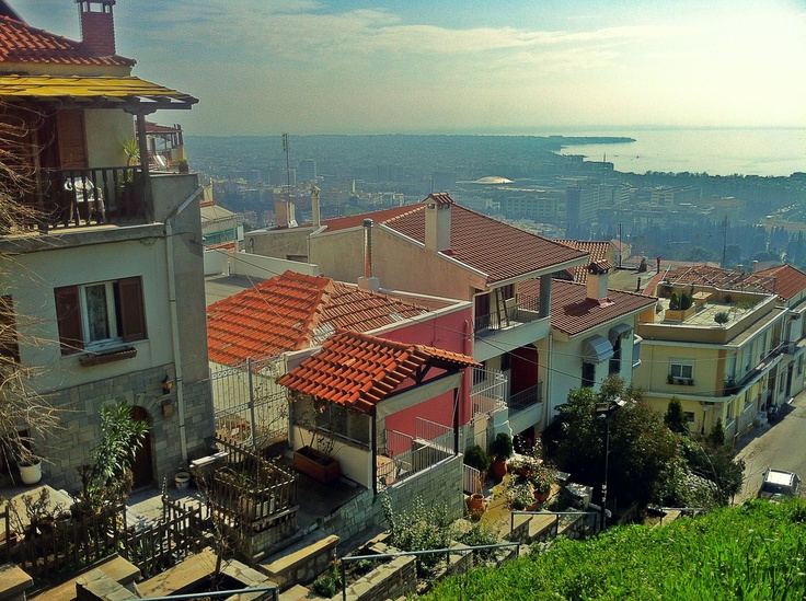 Enjoying the view from the Agios Pavlos side of the Trigonion Tower, where you can see up to Kalamaria and the suburb of Peraia, on the East coast of Thessaloniki. (Walking Thessaloniki, Route 08 - Seven Towers)