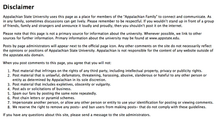 Appalachian State University Disclaimer.