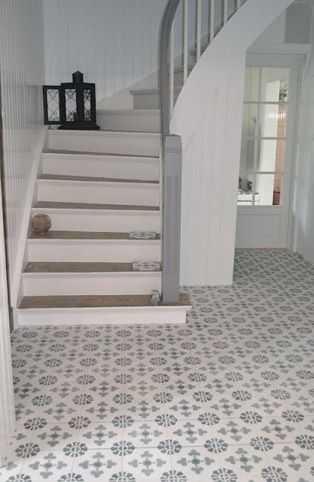 Cement tiles are perfect for the hall or kitchen for Tiled hallway floor ideas