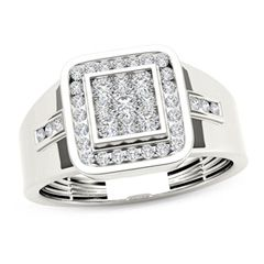 With shimmer and fashion, this diamond signet ring creates a handsome everyday look for him. Crafted in cool 14K white gold, this bold design features a squared composite of shimmering diamonds framed with a cushion-shaped border of channel-set diamonds. Trios of channel-set diamonds also adorn the wide shank. Radiant with 1/2 ct. t.w. of diamonds and a bright polished shine, this signet ring is proclaims his signature style.