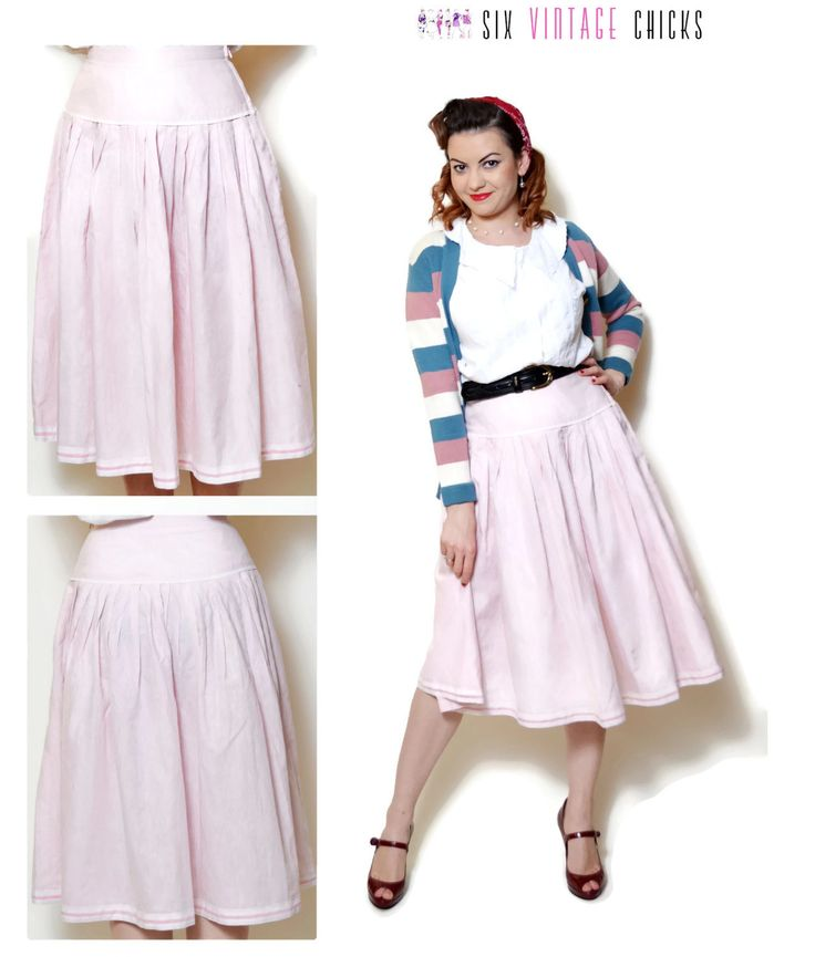 striped Skirt vintage high waisted women clothing midi pleated skirt 70s clothing circle skirt pink pin up gift for her 70s skirt Retro M by SixVintageChicks on Etsy
