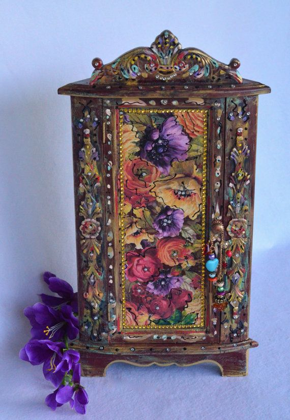 Bohemian Wooden Corner Cabinet by OliviabyDesign on Etsy, $38.00