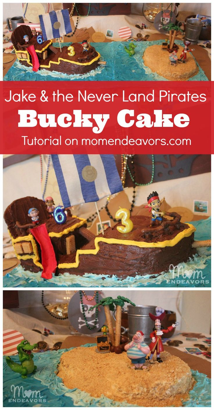 DIY Bucky Cake for a Jake and the Never Land Pirates Birthday Party - full tutorial with directions and pictures on momendeavors.com