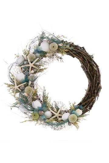 "22"" Seaglass Wreath by Nautical Designer Wreaths and Arrangements on @HauteLook $74"