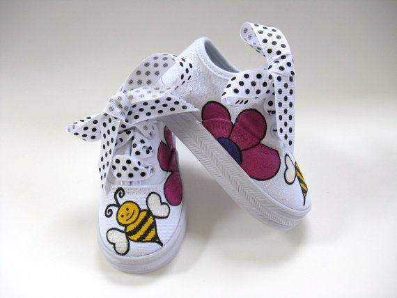 Girls Bumble Bee Shoes, Hand Painted Canvas Sneakers, Baby and Toddler